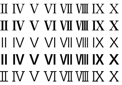 ゴシックのローマ数字にヒゲを付ける - TeX Alchemist Online