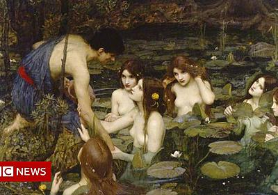 Victorian nymphs painting back on display after censorship row - BBC News