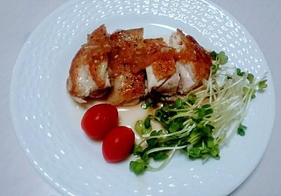 カリッカリの鶏が焼けた!!私至上最高のカリッカリ!!美味しいガーリックソースを添えて・・・【50℃調理】 - 広く浅くまるく