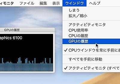 macOS 10.15 CatalinaのアクティビティモニタアプリではCPU使用率に加え、dGPU/eGPUが接続されたMacでGPU使用率が確認可能に。   AAPL Ch.
