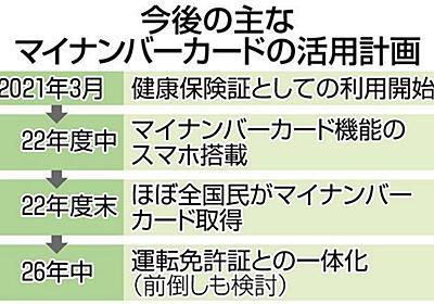 「持たなきゃ生きていけない」 マイナンバーカード普及に躍起の菅政権 「強制化」に警戒も:東京新聞 TOKYO Web