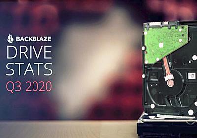 約15万台のHDDを運用するBackblazeがHDD故障率レポート2020年Q3版を公開、18TBモデルなど大容量化が進む - GIGAZINE