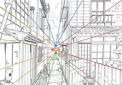 一点透視のはずなのに消失点が2つ?肉眼的解釈でパースを誇張する複数の消失点を取って背景を描く技術のお話 - Togetter