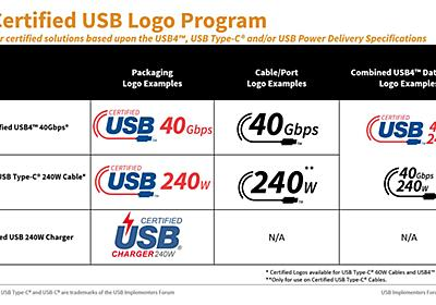 USBに新ロゴ。USB4および240W PD向け