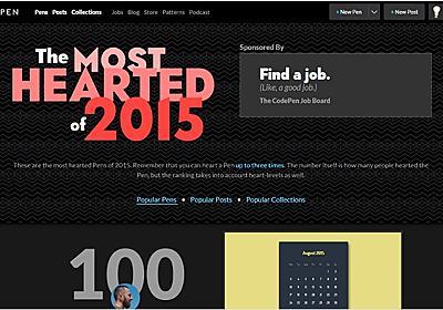 Codepenで2015年に話題になった投稿TOP100をまとめた・「MOST The HEARTED 2015」 | かちびと.net