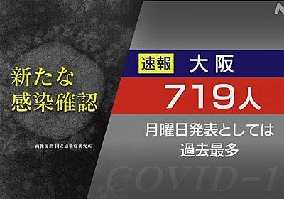 大阪府 新たに719人感染確認 月曜では最多 新型コロナ | 新型コロナ 国内感染者数 | NHKニュース