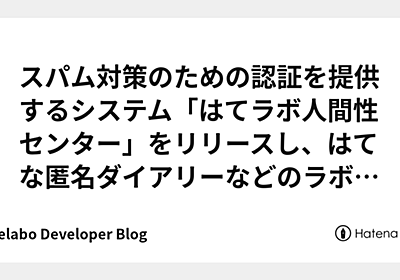 スパム対策のための認証を提供するシステム「はてラボ人間性センター」をリリースし、はてな匿名ダイアリーなどのラボサービスに組み込みました - Hatelabo Developer Blog