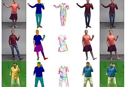 動く人をリアルに着せ替え合成 揺れる服の動きも詳細に再現