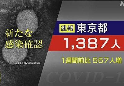 東京都 新型コロナ 2人死亡 1387人感染 1週間前より557人増   新型コロナ 国内感染者数   NHKニュース