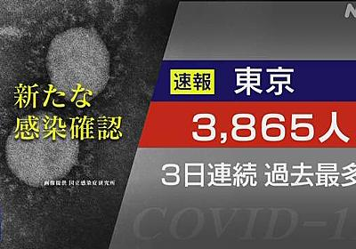 東京都 新型コロナ 3人死亡 3865人感染 3日連続過去最多更新 | 新型コロナ 国内感染者数 | NHKニュース