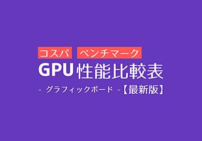 GPU(グラフィックボード)性能比較表【2020年最新版】   PC自由帳