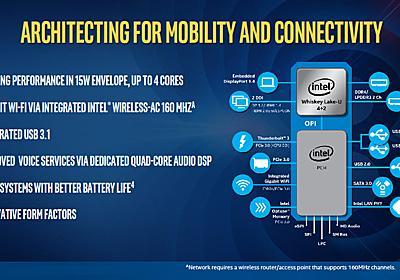 Intel、Gigabit Wi-Fiを統合したモバイルCPU「Whiskey Lake」を正式発表 - PC Watch