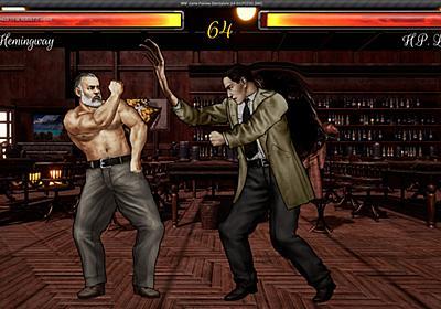 歴史的作家が殴りあう格闘ゲーム『Write 'n' Fight』が11月20日発売予定。ムキムキのヘミングウェイやラブクラフト、ドストエフスキーらがガチンコ勝負